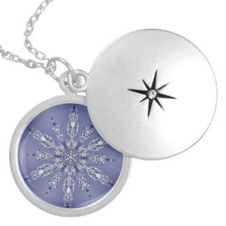 Wirkliches Schneeflocke-Fraktal-Blau 2 Medaillons