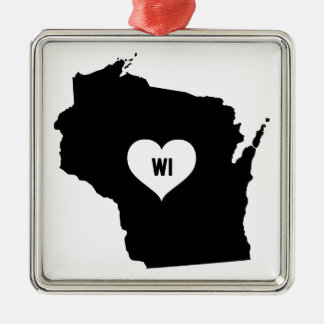Wisconsin-Liebe Silbernes Ornament