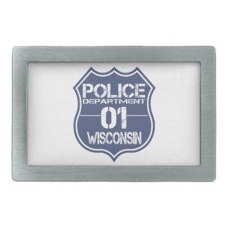 Wisconsin-Polizeidienststelle-Schild 01 Rechteckige Gürtelschnallen