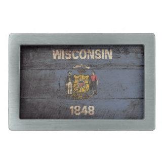 Wisconsin-Staats-Flagge auf altem hölzernem Korn Rechteckige Gürtelschnalle