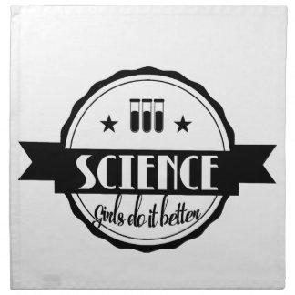 Wissenschaft. Mädchen verbessert sie Stoffserviette