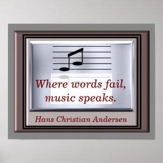 Wo Wort versagen -- Musikzitat - Kunstdruck Poster