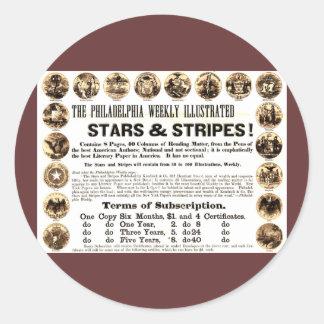 Wöchentliche 1918 Stern-u. Streifen-Zeitung Philad Runde Sticker