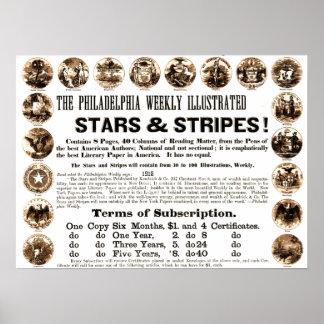 Wöchentliche 1918 Stern-u. Streifen-Zeitung Poster