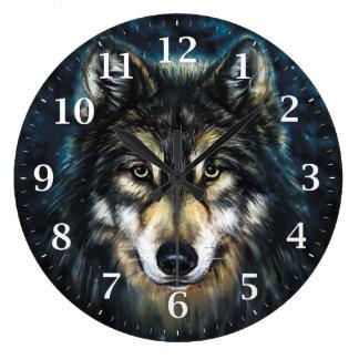 Wolf-dekorative Wanduhr