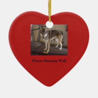 Wolf der frohen Weihnachten Keramik Herz-Ornament