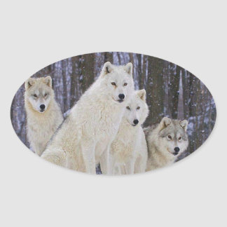 Wolf-Familie Ovaler Aufkleber