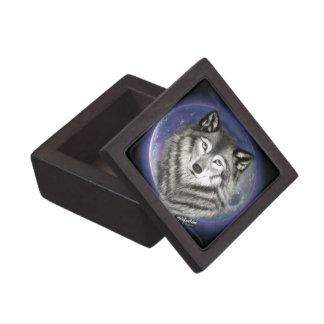 Wolf-Mond-Holz und Fliesen-Geschenkboxen Kiste