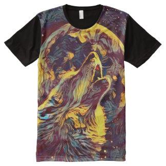 Wolf-Mondwerewolf-Heulen-dunkle Horror-Kunst T-Shirt Mit Komplett Bedruckbarer Vorderseite