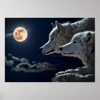 Wolf-Paar-Mond-Nachtgotisches Fantasie-Plakat Poster