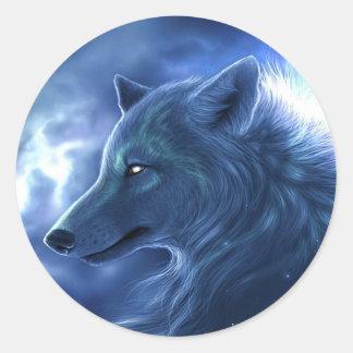 Wolf-Wächter Runder Aufkleber
