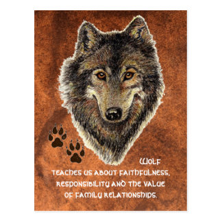 Wolf, Wolf-Tiertotem, Natur-Führer Postkarte