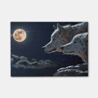 Wolf-Wölfe, die am Vollmond nachts heulen Post-it Klebezettel
