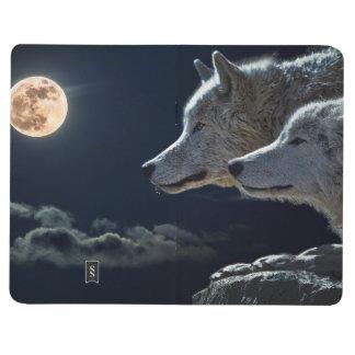 Wolf-Wölfe, die am Vollmond nachts heulen Taschennotizbuch