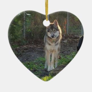 Wolfdog im Sonnenlicht Keramik Herz-Ornament