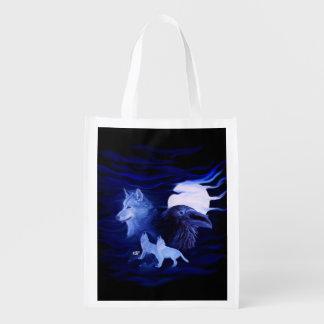 Wölfe und Rabe mit Vollmond Wiederverwendbare Einkaufstasche