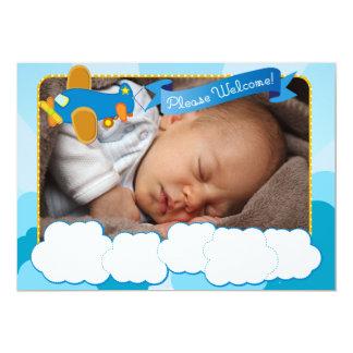 Wolken-und Flugzeug-Foto-Geburts-Mitteilung 12,7 X 17,8 Cm Einladungskarte
