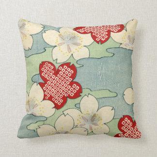 Woodblock Druck der Hartriegel-Blüten Kissen