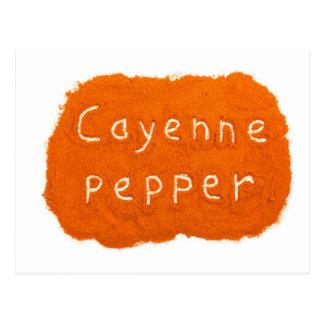 Wort-Cayenne-Pfeffer geschrieben in Pulver Postkarte