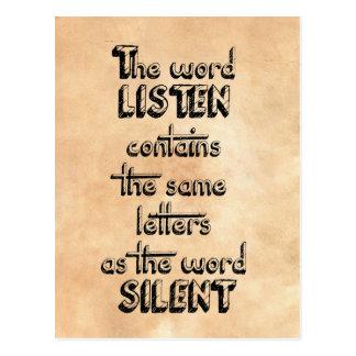Wort HÖREN enthält die gleichen Buchstaben wie Postkarte