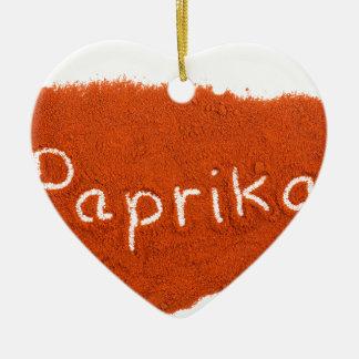 Wortpaprika geschrieben in Paprikapulver Keramik Ornament