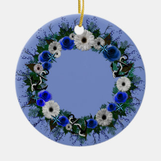 "Wreath-""blauer Anker-"" blaue Keramik Ornament"