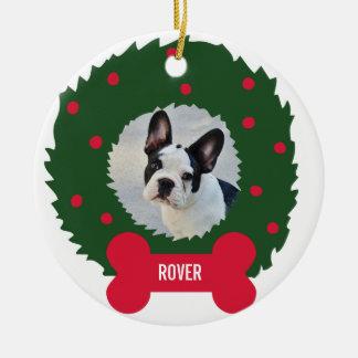 Wreath des lustigen Hundeliebhabers Weihnachtsmit Rundes Keramik Ornament