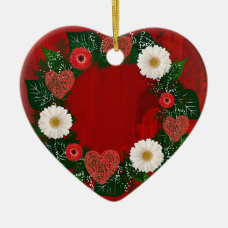 "Wreath ""Doodly Herz-"" rote Keramik Ornament"
