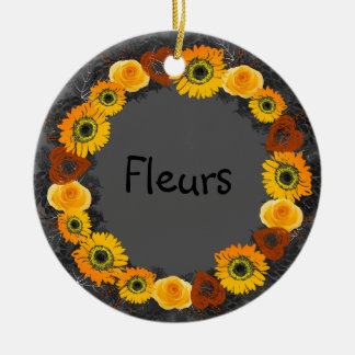 "Wreath ""goldene orange"" Blumen-Keramik-Verzierung Keramik Ornament"