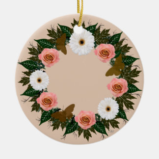 "Wreath-""Goldschmetterlings-"" Keramik Ornament"