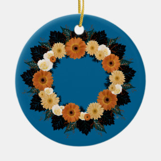 "Wreath-""orange Blüten-"" orange Blumen Keramik Ornament"