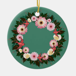 "Wreath-""rosa Vogel-"" Keramik Ornament"