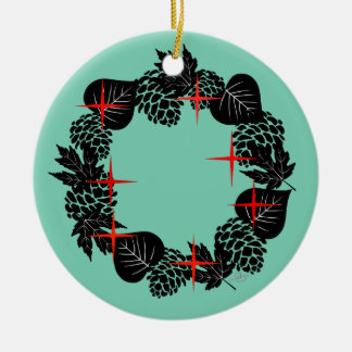 "Wreath-""roter Stern-"" Keramik Ornament"
