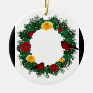 "Wreath-""roter Vogel-"" Keramik Ornament"