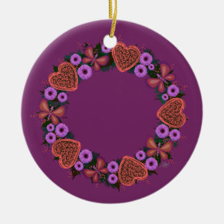 "Wreath-""staubiges Herz-"" Keramik Ornament"