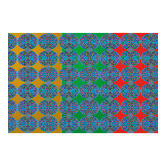 WUNDER Farbmanie: Blaue Diamant-Muster Poster
