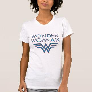Wunder-Frauen-blaues und rotes Retro Logo T-Shirt
