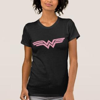 Wunder-Frauen-buntes rosa Blumenlogo T-Shirt