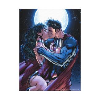 Wunder-Frauen-u. Supermann-Kuss der Leinwanddruck