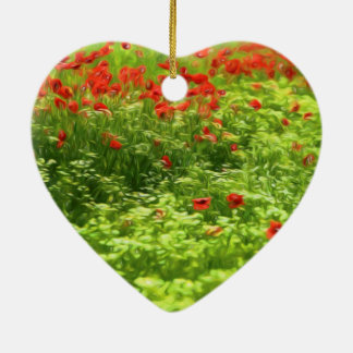 Wunderbare Mohnblumen-Blumen V - Wundervolle Keramik Herz-Ornament