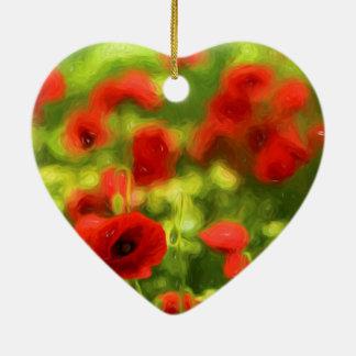 Wunderbare Mohnblumen-Blumen VI - Wundervolle Keramik Herz-Ornament