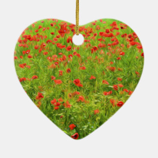 Wunderbare Mohnblumen-Blumen VII - Wundervolle Keramik Herz-Ornament