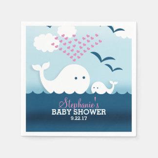 Wunderliche Babyparty der Wal-(Mädchen) Serviette
