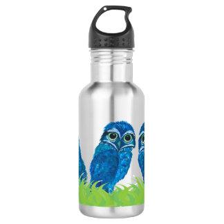 Wunderliche blaue und grüne grabende Eulen-Kunst Trinkflasche