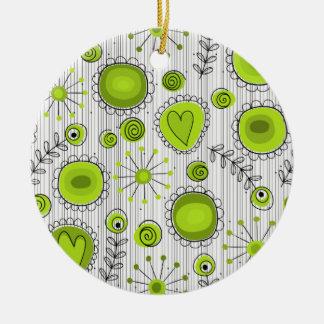 Wunderliche Blumen in der grünen Verzierung Rundes Keramik Ornament