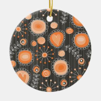 Wunderliche Blumen in der orange Verzierung Rundes Keramik Ornament