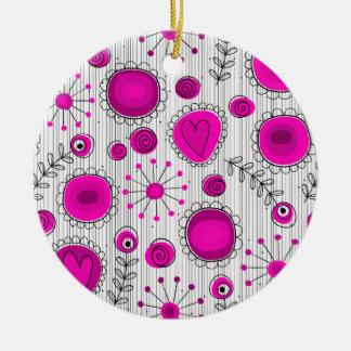 Wunderliche Blumen in der rosa Verzierung Rundes Keramik Ornament