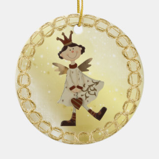 Wunderliche Engels-Prinzessin Festive Golden Rundes Keramik Ornament