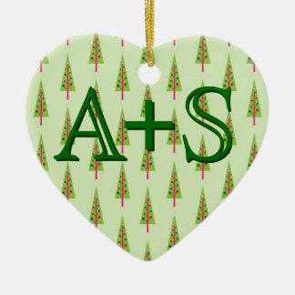 Wunderliche erste Weihnachtsbäume der Keramik Herz-Ornament