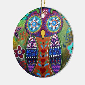 wunderliche Eule Rundes Keramik Ornament